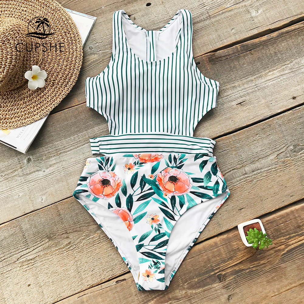 4b0e07b7f79fb CUPSHE Flora Print And Striped Patchwork One-Piece Swimsuit Women U-neck Tied  Bow Zip Back Monokini 2018 Hollow Out Swimwear