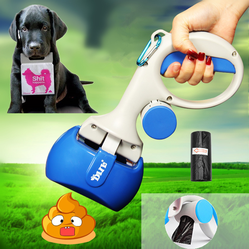 2 In 1 Pet Pooper Scooper +(1 Lot=20pcs)poop Bags Set Dog Cat Outdoor Waste Cleaning Poop Shit Pickup Remover Pooper Bags