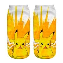 Pikachu 3D Printing 2016 Funny Cartoon Sock Unisex Low Cute Polyester Socks Calcetines Fashion Casual Socks Unisex