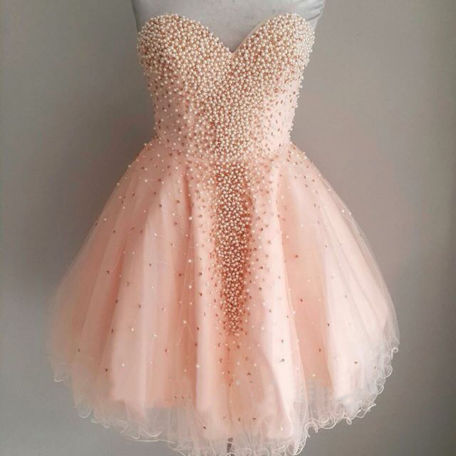 Pink Pearls Short Prom Dresses Cheap 2018 Vestidos De 15 Anos Curto