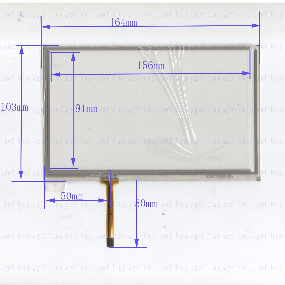 ZhiYuSun 164mm*103mm SV0704W 7inch 4-wire resistive touch panel for Car DVD, 164*103GPS Navigator screen  glass цена и фото