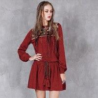 Vintage Wine Red Women Autumn Dress 2016 Boho Knitting DRESS O Neck Slash Waist Vestidos A