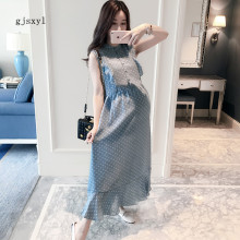2017 maternity summer new comfortable Slim temperament pregnant women dress fashion dots small fresh