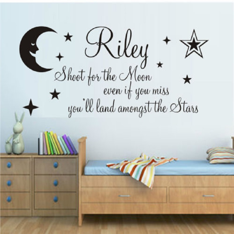 Lovely Customized Name Shoot For The Moon Stars Quote Wall Decal