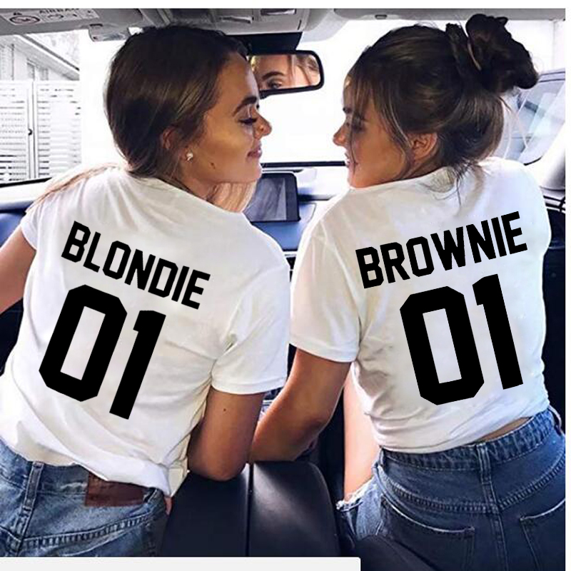 New Letter Printed Best Friend T-Shirt BFF Sister Girls Lovers Couples Women Tee Shirt Cotton Tops Brownie Blondie 01