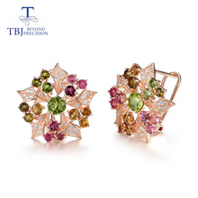 TBJ,Natural multicolor tourmaline gemstone flower earrings 925 sterling silver fine jewelry for women Wedding party nice gift tbj 100% natural red garnet diana gemstone ring in 925 sterling silver precious stone for women girls wedding party daily wear