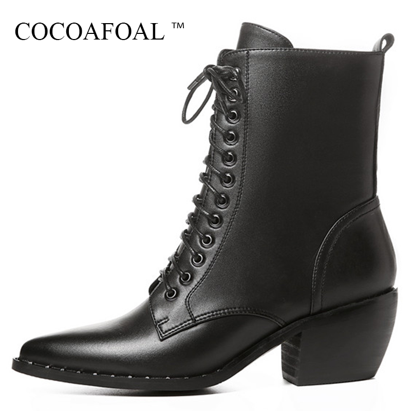 цена на COCOAFOAL Women's Lace Up Ankle Boots Autumn Winter Plus Size 41 Black High Heeled Shoes Sexy Genuine Leather Martin Boots 2018