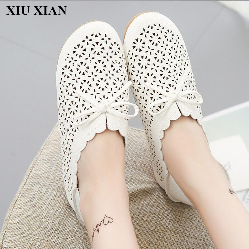 2017 Women Shoe Hollow Breathable Round Toe Lace Up Flats Shoes Bowtie Casual Soft Bottom Flats Shoes Cut Out White Beige Tendon  nis women air mesh shoes pink black red blue white flat casual shoe breathable hollow out flats ladies soft light zapatillas