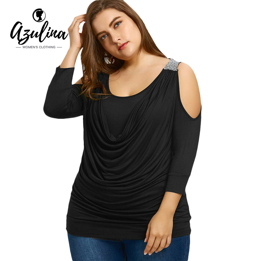 AZULINA Plus Size 5XL 4XL Draped Front Sequins Cold Shoulder T-shirt Women Black New Fashions Casual Ladies Tops Woman Clothes