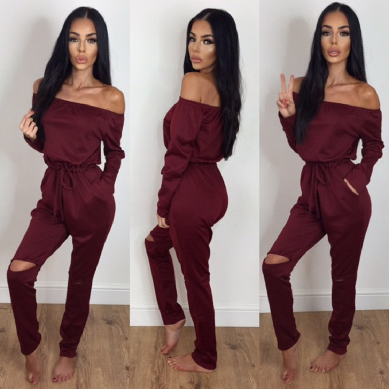 New Punk Style Hollow Out Irregular Jumpsuit For Women 2019 Long Sleeve Off Shoulder Sexy Bodycon Jumpsuit Lace Up Female Romper