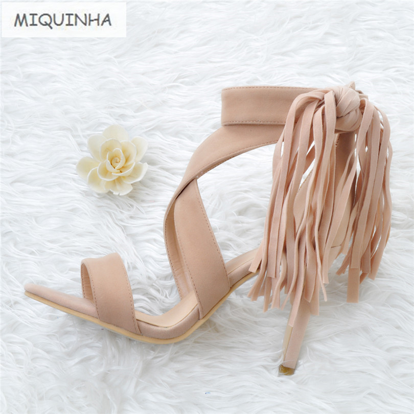 ФОТО 2017 Designer Ankle Strap Zapatillas Zapatos Mujer Sandalias Mujer Gladiator Fringe Tassel Shoes Women Sandals Plus Size 34-47