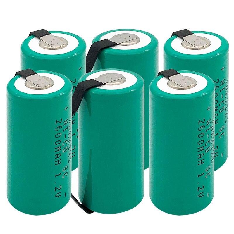 TBUOTZO 10 pièces SC batterie 2600mAh rechargeable subc batterie 1.2 v avec languette pour makita pour dewalt pour bosch