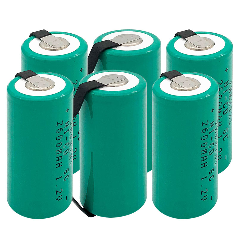 TBUOTZO  10 Pieces  SC Battery 2600mAh Rechargeable Subc Battery 1.2 V With Tab For Makita For Dewalt For Bosch