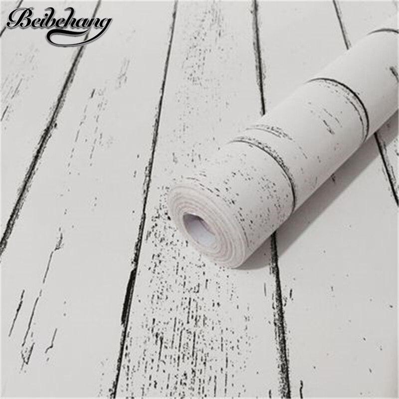 Beibehang Rétro grain de bois Auto-adhésif papier peint étanche et résistant à l'humidité environnement PVC papier peint papel de parede