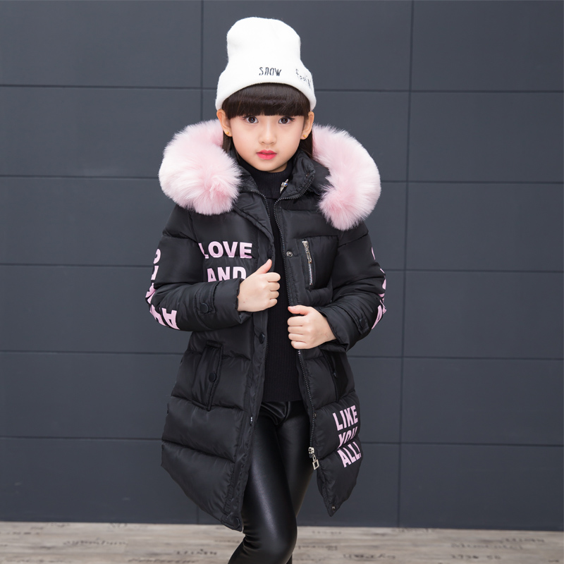 5-13 Y girls winter jacket kids down coats winter fur collar children's parkas long warm Thicken printing Hooded detachable стоимость