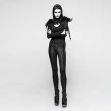 Gothic Retro Carved Patterns Knitted Slim Long Leggings Women Black Red Bandage Pencil Pants