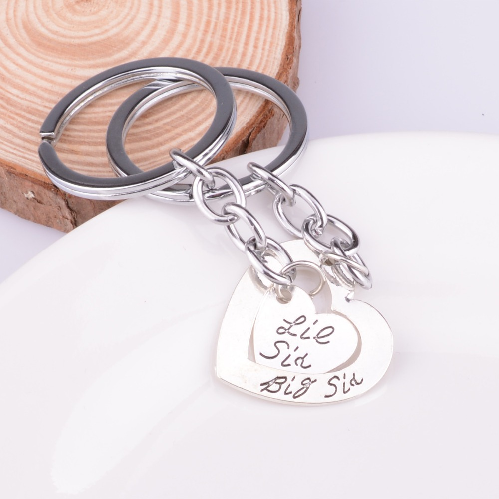 BIG LITTLE SISTER KEYRING SET Love Heart Charm Gift Best Friends Friendship Girl