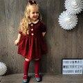 0-4 Т Девочка Одежда 2017 Весна Осень Новый Red Dot Прекрасный Платье Новорожденных Принцесса Платья Vestido Infantil половина Рукава Платья