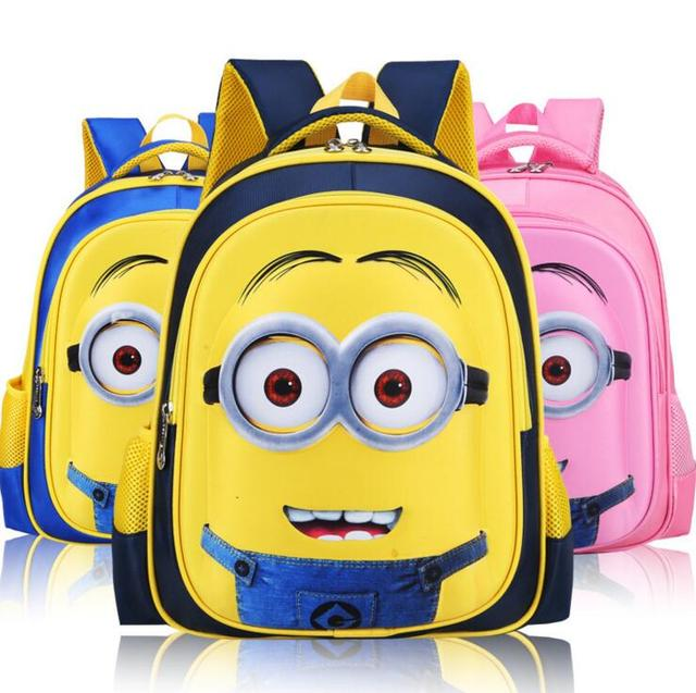 2017 Moda Minions Despicable Me 2 Niños Bolsas Escuela de Dibujos Animados Mochila Infantil Mochila 6-12Y Lindos de Los Niños Bolsas mochila escolar