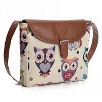 Owl Printed Women Canvas Handbag Casual Tote Bag Large Lady Handbags Women Solid Shoulder Bag Canvas