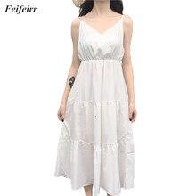 Women Dress 2019 Summer Korean version fashion high waist was thin Elegant Party dress V-neck white Sling long dress Vestidos цены