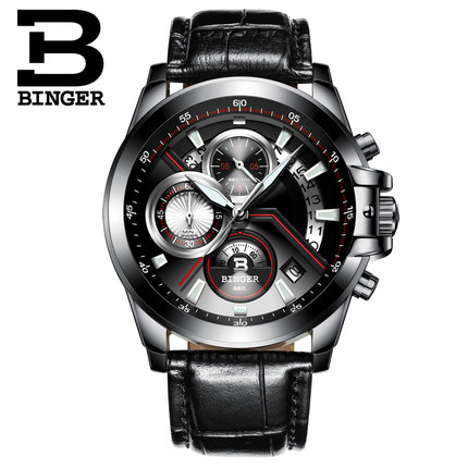 Switzerland Men New Watches Luxury Top Brand BINGER Big Dial Designer Chronograph Water Resistant stainless quartz Wristwatches weide high quality watch men luxury brand big dial 3atm water resistant stainless steel back lcd wristwatches with alarm items
