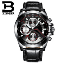 Switzerland Men New Watches Luxury Top Brand BINGER Big Dial Designer Chronograph Water Resistant stainless quartz Wristwatches
