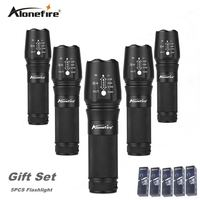 AloneFire X800 High Power XML T6 LED Zoom flashlight Tactical Flashlight Travel lantern AAA 18650 26650 Rechargeable Battery