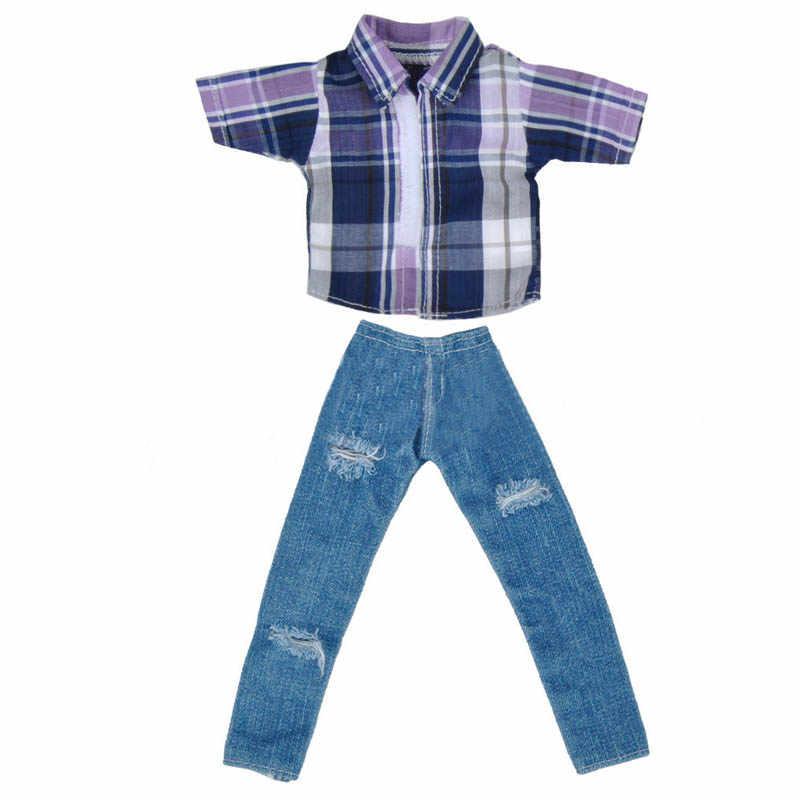 1 Set 1/6 Pria Pakaian Boneka Plaid Shirt & Jeans Celana untuk Boneka Ken Pakaian untuk Barbie Pacar Ken pangeran Boy Boneka Aksesori