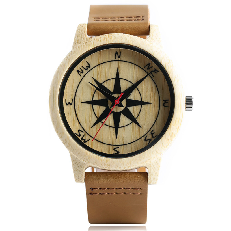 Creative Design Quartz Wooden Bamboo Watches for Men Women Genuine Leather Watchband High Quality Fashion Wood Watch Best Gift