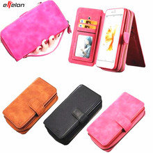 Wallet Flip Leather Cover For iPhone5 6s 7 Case 2 in 1 Card Slot Stand Case For iPhone 7 6 6s Plus Zipper Purse Phone Bag Pouch