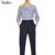 De las mujeres atractivas de slash cuello rayado blusa entallada camisa de manga farol dobladillo elástico señoras de la moda streetwear tops blusas LT1598