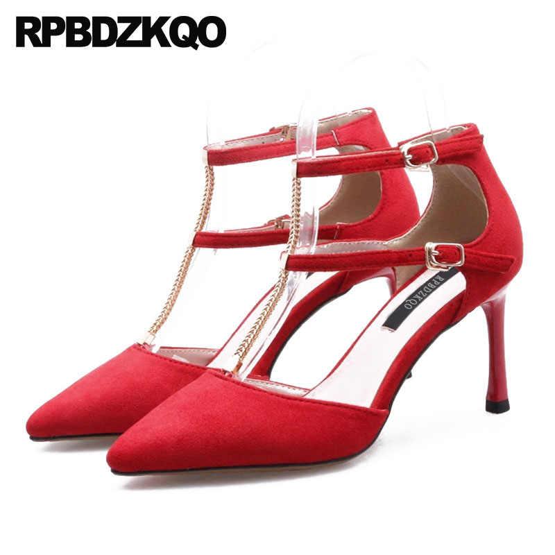 red 3 strap heels