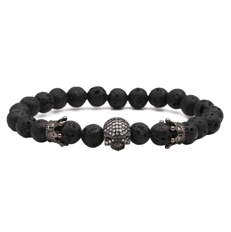 8mm Fashion Charm Natural Stone Beaded Bracelet and Bracelet Micro Pave CZ Skull Crown Charms Bracelet Men's Jewelry