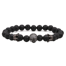 8mm Fashion Charm Natural Stone Beaded Bracelet and Bracelet Micro Pave CZ Skull Crown Charms Bracelet Men's Jewelry kang hua 2018 popular 5 colors 8mm stone charm bracelet classic pave cz gold skull bracelets for men
