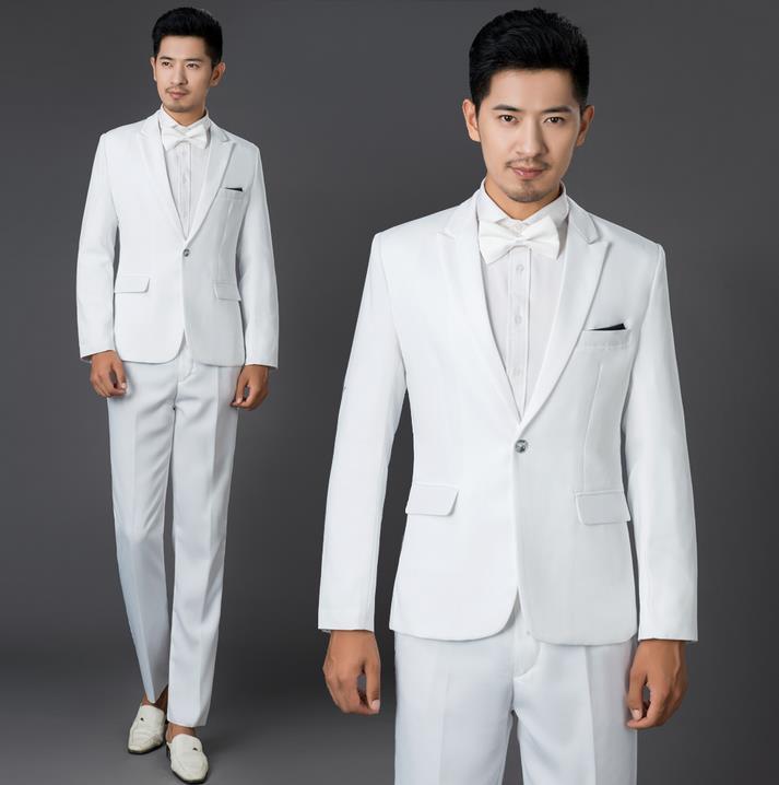 Us 5658 18 Offhitam Putih Biru Merah Khaki Merek Pakaian 2019 Baru Kedatangan Set Mens Suits Pernikahan Pengantin Pria Slim Fit Jas Celana