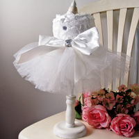 Bling White Lace Dog Puppy Luxury Bow Dress Pet Cat Tutu Skirt Princess Wedding Dress Dog