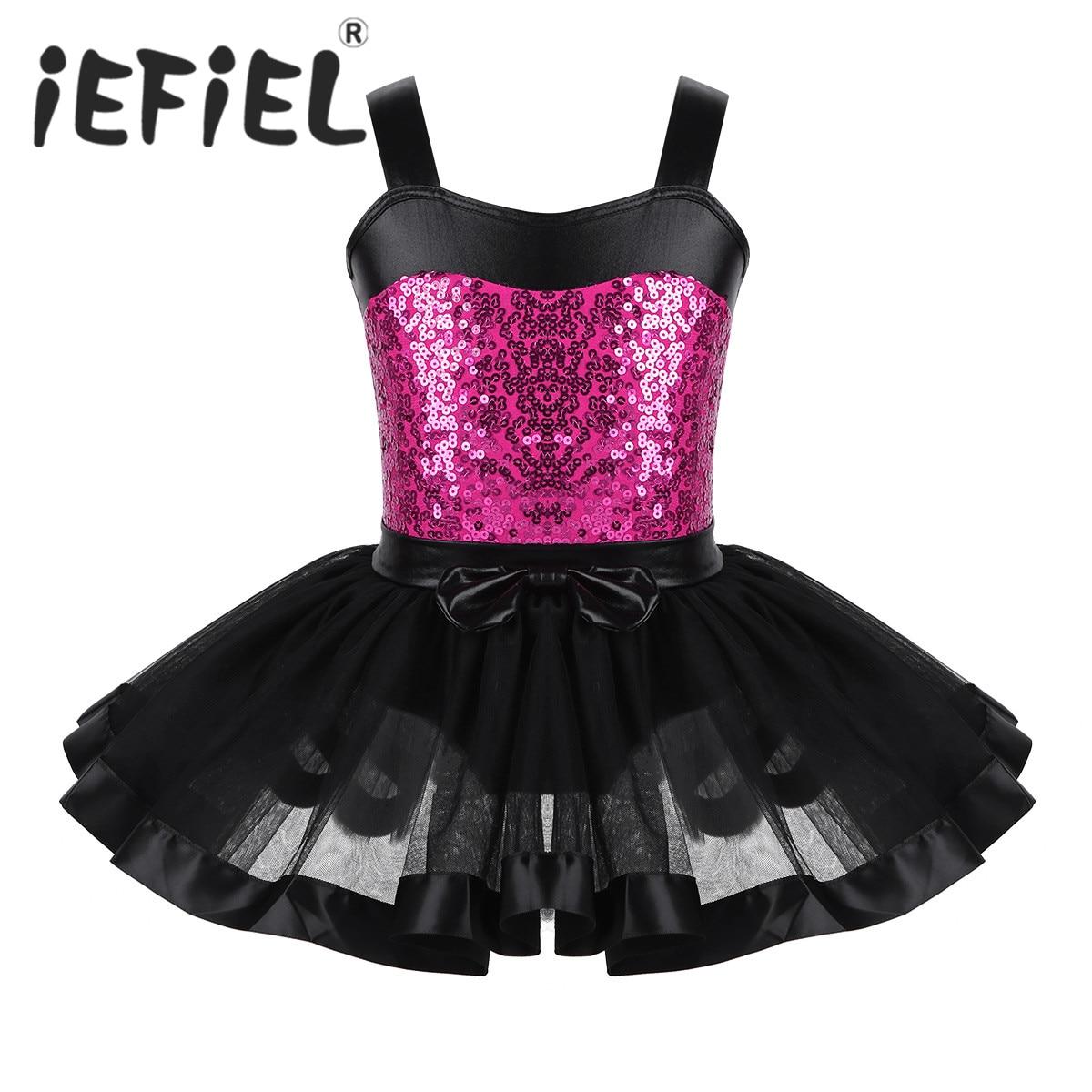 Sequins Kids Girls Sleeveless Fancy Party Ballet Dance Gymnastics Leotard Tutu Dress Christmas Costumes Dancewear Tulle Dress