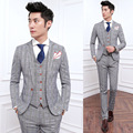 Spring 2016 men's Houndstooth three piece men's business suit slim gentleman