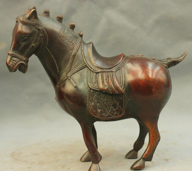 8'' China Horse Battle Steed Bronze Statue R0712