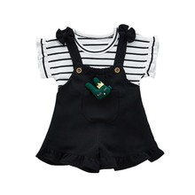 Summer Kids Girls Clothing Sets Striped Short Sleeve Girl T-Shirt +Cute Overalls Shorts Baby Girl Clothes Suit 2pcs стоимость