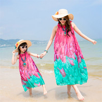ILEEBAY New Summer Family Matching Outfits Mother And Daughter Dresses Beach Chiffon Long Dresses Mother Girl