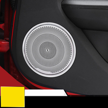 QHCP Car Interior Car Door Speaker Decoration Trim Cover Stickers Fit For Ford Mustang 2015 Up Car Styling Free Shipping
