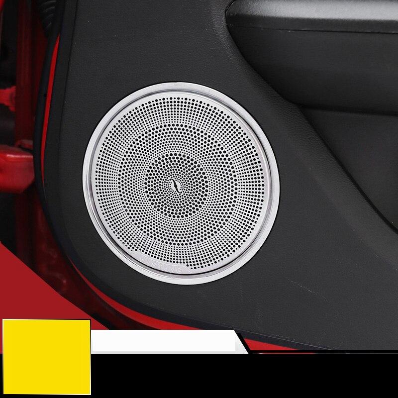 QHCP Voiture Intérieur De la Voiture Porte Haut-Parleur Décoration Garniture Couverture Autocollants Fit Pour Ford Mustang 2015 Up Car Styling Livraison Gratuite
