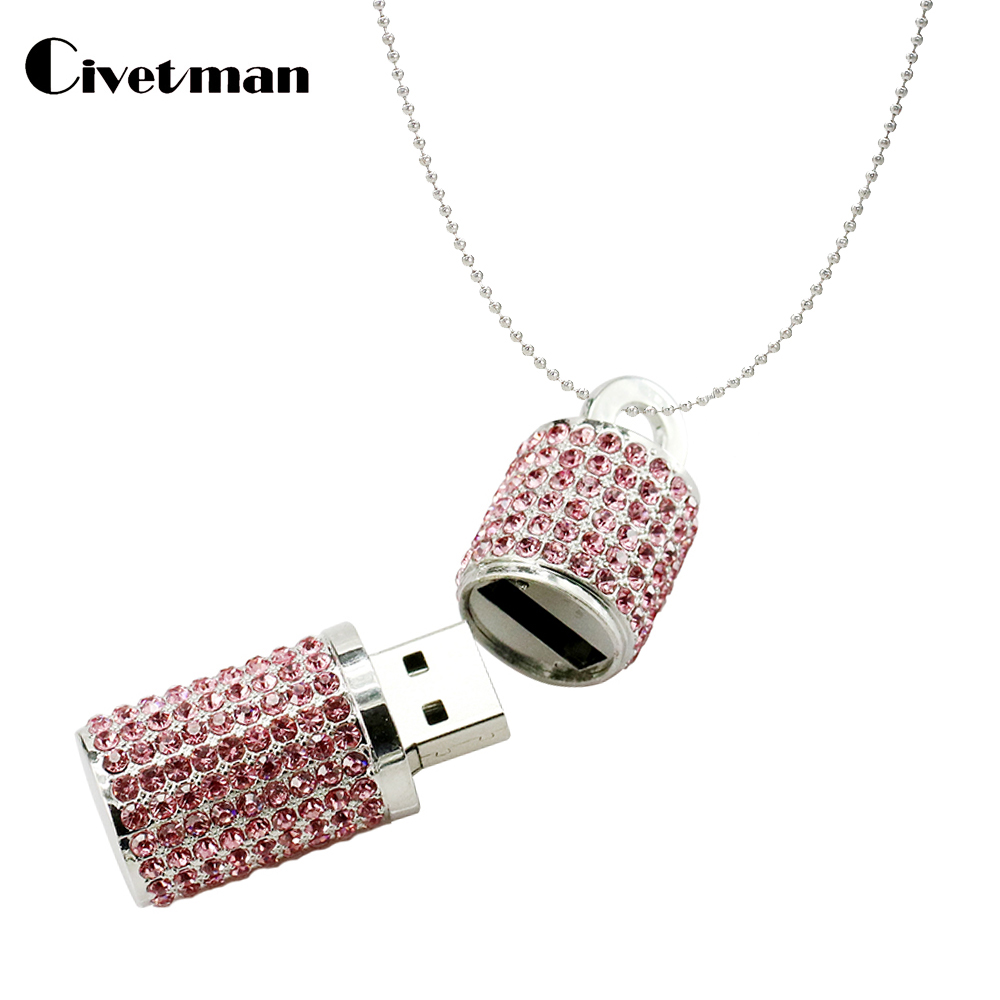 Fashion USB Flash Drives Luxurious Crystal Cylindrical Pen Drive 64GB 32GB 16GB 8GB 4GB Memory Stick USB 2.0 Flash Disk 128GB