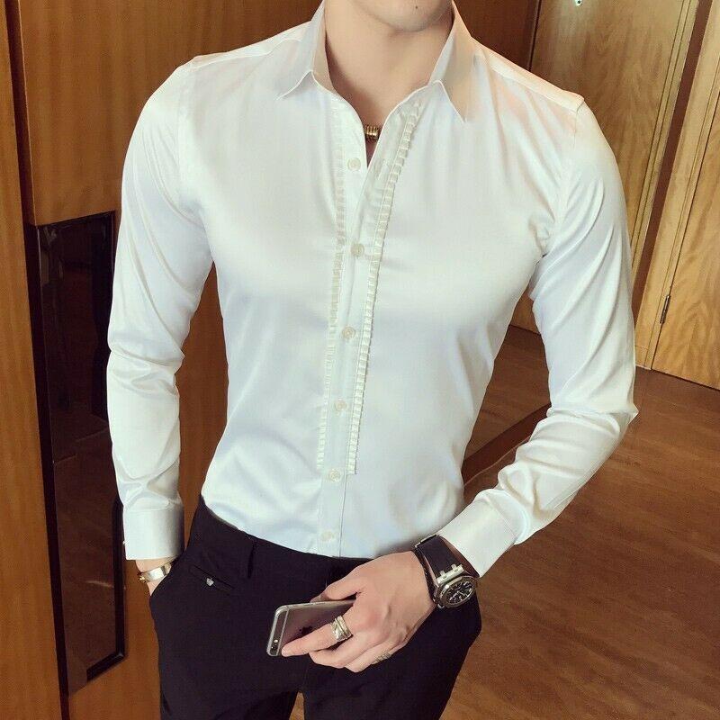 Hommes chemise formelle Court bouton avant chemise printemps soie affaires Tee hauts