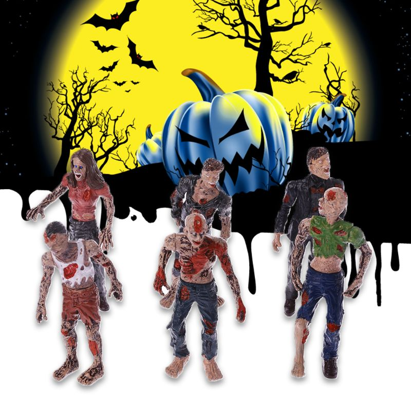 6Pcs Walking Corpses Model Terror Zombies Kids Children Action Figure Toys Dolls Halloween Decor Figurines