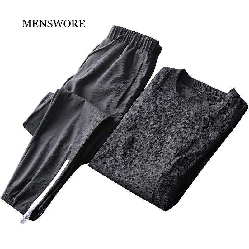 Для мужчин поклялся Для мужчин спортивные костюмы летние Для мужчин дышащие круглый вырез горловины черные костюмы 3XL ...
