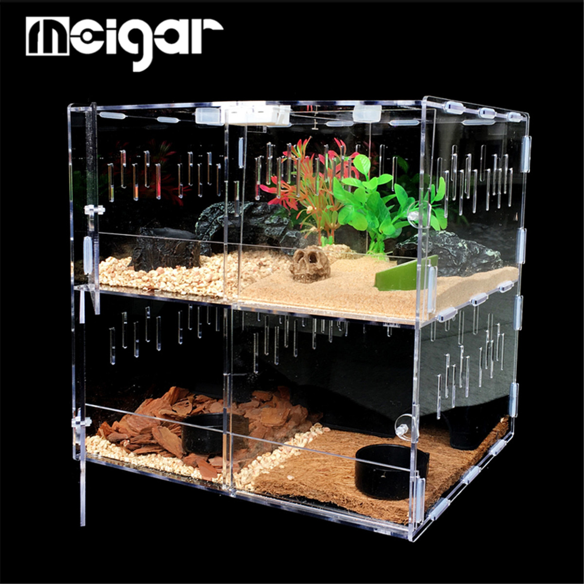 4 Grids Acrylic Pet Reptile Tank Insect Spiders Lizard Breeding Box Tortoise Snakes House Cage Terrarium Reptiles Supplies
