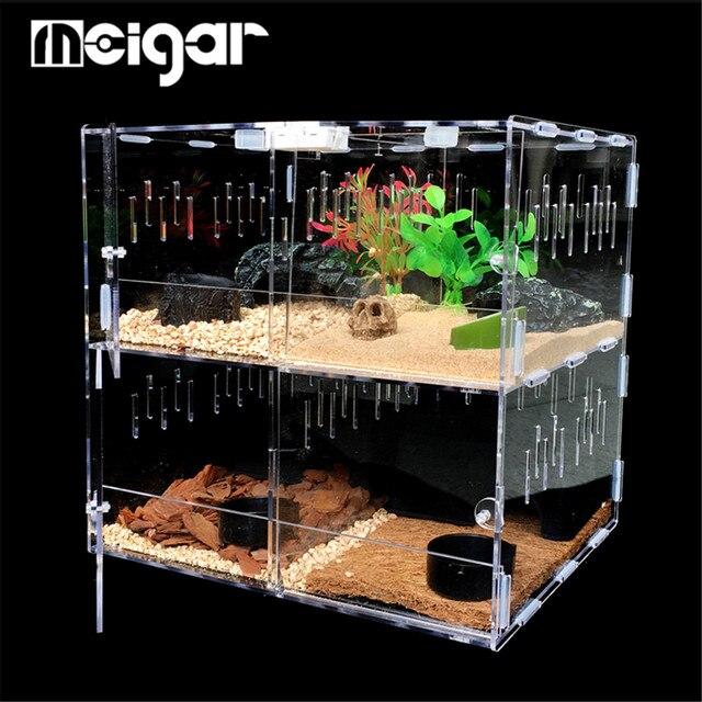 4 сетки акриловый ПЭТ резервуар для рептилий насекомых пауков ящерица коробка для разведения черепаха змеи клетка для дома Террариум рептилий поставки